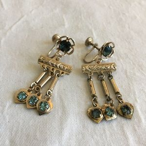 Vintage Blue Rhinestone Screw back Earrings